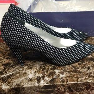 Silver Diamond accent black heels